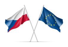 Banderas que agitan de la República Checa y de la unión europea stock de ilustración