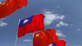 Banderas que agitan de Taiwán y de China en el fondo del cielo, animación loopable 3D almacen de video