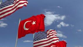 Banderas que agitan de Turquía y de los E.E.U.U., animación loopable 3D almacen de metraje de vídeo