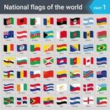 Banderas que agitan del mundo Colección de banderas - sistema completo de banderas nacionales Imagenes de archivo