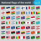 Banderas que agitan del mundo Colección de banderas - sistema completo de banderas nacionales Foto de archivo