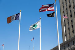 Banderas que agitan en el viento Foto de archivo