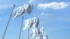 Banderas que agitan múltiples con el logotipo 2018 de las olimpiadas de invierno de PyeongChang 4K animación editorial, lazo inco ilustración del vector