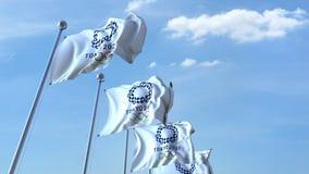 Banderas que agitan múltiples con el logotipo de 2020 Olimpiadas de verano 4K animación editorial, lazo inconsútil stock de ilustración