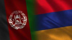Banderas realistas de Afganistán y de Armenia medias junto libre illustration