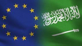Banderas realistas de la UE y de la Arabia Saudita medias junto libre illustration