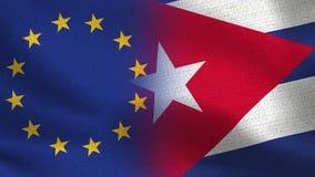 Banderas realistas de la UE y de Cuba medias junto foto de archivo libre de regalías
