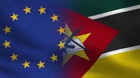 Banderas realistas de la UE y de Mozambique medias junto ilustración del vector