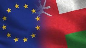 Banderas realistas de la UE y de Omán medias junto libre illustration