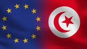 Banderas realistas de la UE y de Túnez medias junto stock de ilustración