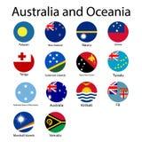 Banderas redondas planas de Oceanía - sistema completo de CollectionVector del vector de los iconos Oceanian Australia y Oceanía  stock de ilustración