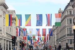 Banderas Regent Street Foto de archivo libre de regalías