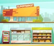 Banderas retras de la historieta del supermercado 2 fijadas Foto de archivo libre de regalías