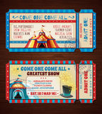 Banderas retras de los boletos del circo fijadas Imagen de archivo libre de regalías