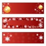 Banderas rojas de la Navidad Imágenes de archivo libres de regalías
