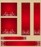 Banderas rojas de la Navidad, vector Foto de archivo libre de regalías
