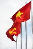 Banderas rojas del Partido Comunista de Vietnam y de Vietnam Fotografía de archivo libre de regalías