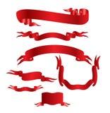 Banderas rojas reales Imágenes de archivo libres de regalías