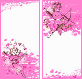 Banderas rosadas verticales con los cupidos Fotos de archivo