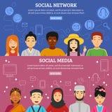 Banderas sociales de la red fijadas libre illustration