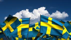 Banderas suecas que agitan ilustración del vector