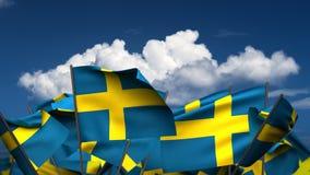 Banderas suecas que agitan stock de ilustración