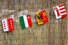 Banderas suizas Fotografía de archivo libre de regalías