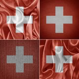 Banderas suizas de la tela Fotos de archivo