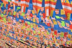 Banderas tibetanas del rezo Fotografía de archivo