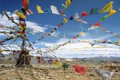 Banderas tibetanas del rezo Fotos de archivo