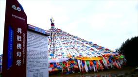 Banderas tibetanas, pagodas, templos y estructuras religiosas almacen de video