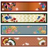 Banderas tradicionales japonesas Imágenes de archivo libres de regalías