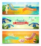 Banderas tropicales de la playa fijadas Fotos de archivo
