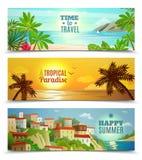 Banderas tropicales de las vacaciones del paraíso de la agencia de viajes Foto de archivo libre de regalías