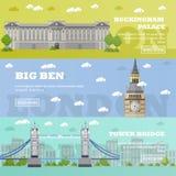 Banderas turísticas de la señal de Londres Ejemplo del vector con los edificios famosos Puente, Big Ben y Buckingham Palace de la Fotos de archivo