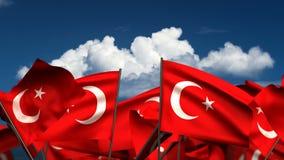 Banderas turcas que agitan stock de ilustración