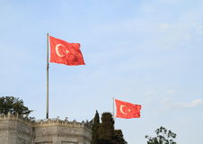 Banderas turcas sobre la universidad de Estambul Fotografía de archivo libre de regalías