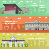 Banderas turísticas de la señal de Madrid Ejemplo del vector con los edificios famosos de España Imagen de archivo libre de regalías