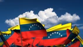 Banderas venezolanas que agitan stock de ilustración