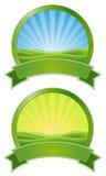 Banderas verdes de la salida del sol Imagen de archivo