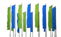 Banderas verdes y azules Imagen de archivo libre de regalías
