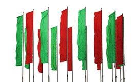 Banderas verdes y rojas Fotos de archivo