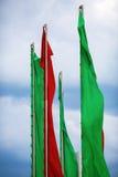 Banderas verdes y rojas Foto de archivo libre de regalías