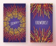 Banderas verticales abstractas con formas de los fuegos artificiales y el marco multicolores del espacio de la copia ilustración del vector