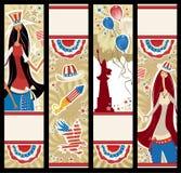 Banderas verticales americanas. stock de ilustración