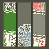 Banderas verticales Black Jack del vector para el texto Foto de archivo libre de regalías