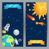 Banderas verticales con la Sistema Solar y los planetas Imagen de archivo
