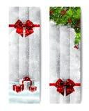 Banderas verticales de la acuarela de la Navidad libre illustration
