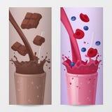 Banderas verticales de la bebida dulce con el chocolate y las frutas que caen libre illustration