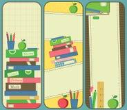 Banderas verticales de la escuela y del libro Fotografía de archivo libre de regalías